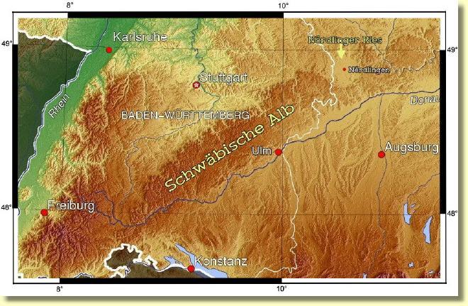 Schwäbische Alb Karte Städte.Schwäbische Alb
