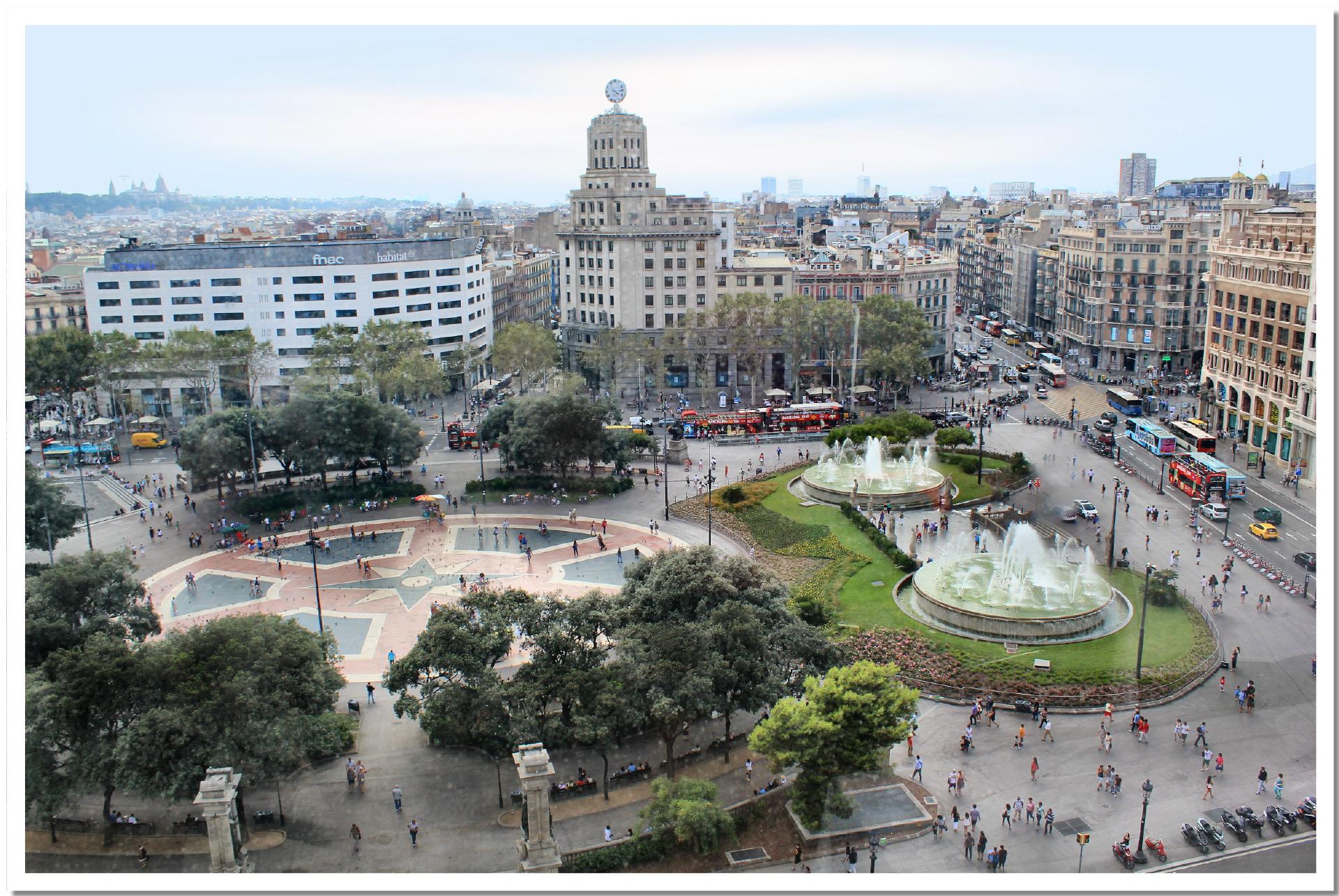 Blick ber den plaza de catalunya vom kaufhaus el corte - El corte ingles plaza cataluna barcelona ...