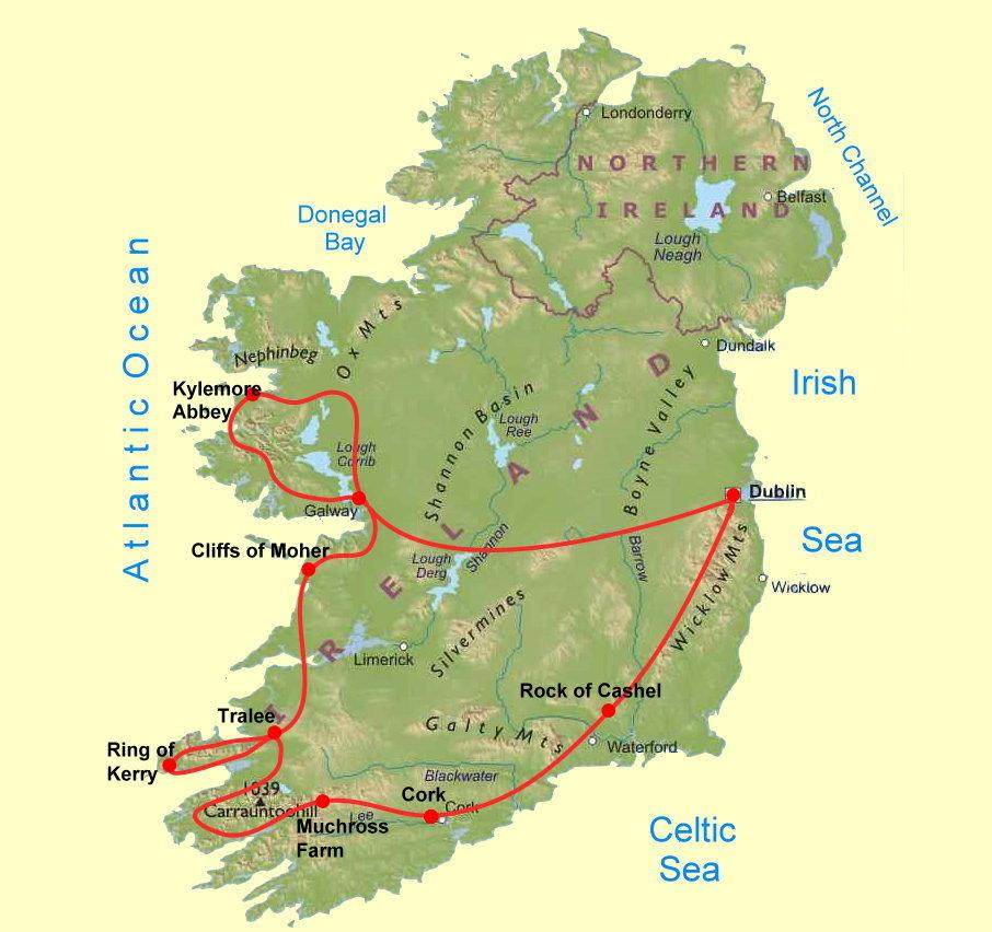 Irland Karte Rundreise.Irland Rundfahrt